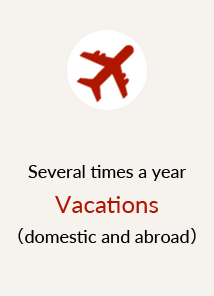 Several times a year Vacations (domestic and abroad)